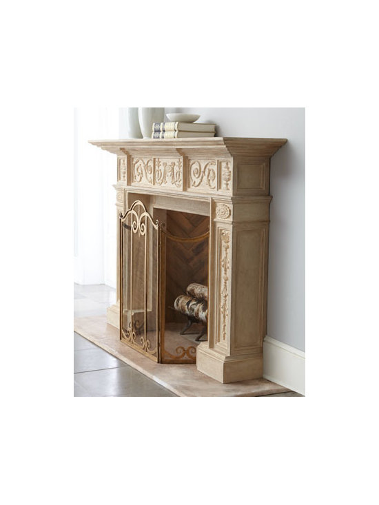 """Horchow - French Mantel - Exclusively ours. Stately mantel dressed in ornate scrolls brings romance to the hearth indoors or out. Handcrafted of crushed stone. Hand-painted lacquer finish. Outdoor safe. 72""""W x 15""""D x 50""""T overall; inside opening, 34.75""""W x 15""""D x 32.75""""T....."""