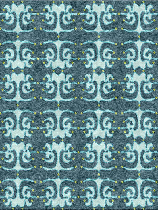 Yoga Blue Rug - Tibetan Wool and Chinese Silk rug. Hand-knotted at 100 knots per inch, woven in Nepal. Goodweave certified.