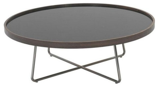 Modern Brown And Black Glass Round Coffee Table Bremen