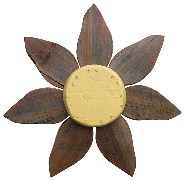 Reclaimed Wood Flower Wall Art Handcrafted from Reclaimed Barn Wood