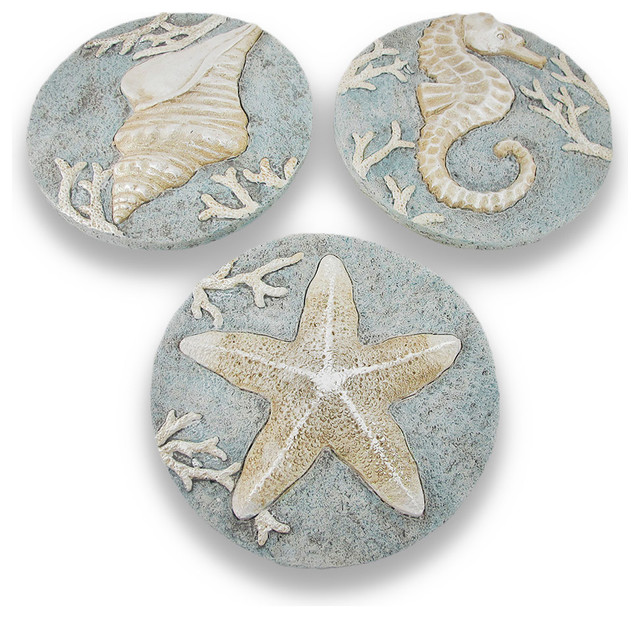 Set Of 3 Decorative Beach Themed Stepping Stones Wall
