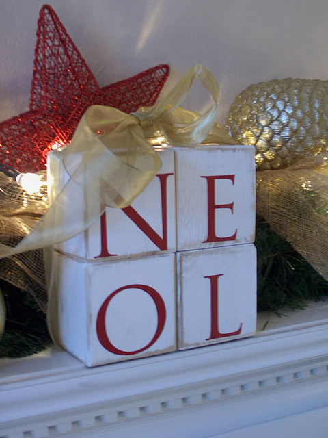Wood Letter Blocks Noel Holiday Stacked Block Letters