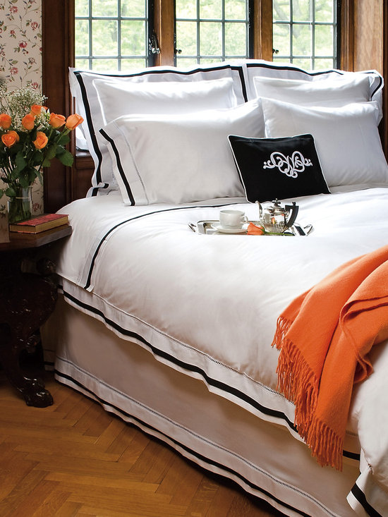 Chelsea Bedding, Duvet Cover, Shams & Bed Skirt - Elegantly tailored sheets, duvet covers, pillow shams and bed skirts in cotton sateen.  Flat sheet, pillow slips, duvet covers, pillow shams and bed skirts are finished with an architectural large hemstitch border trim and classic, tailored white and black accent flange. Also available with gray.