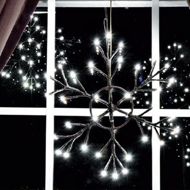 12' Lighted Snowflake - Battery Operated - Rustic ...