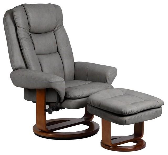 Mac Motion Chairs Gun Metal Slate Nubuck Bonded Leather Swivel Recliner W Ottom Traditional