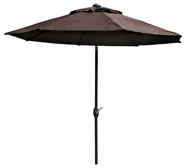 Abba patio chocolate 9 ft outdoor patio table aluminum for Patio table umbrella 6 foot