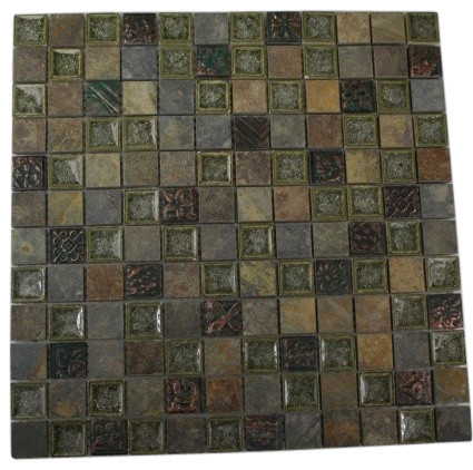 Roman Collection Forest Trail W/ Deco 1x1 Glass Tile tropical bathroom tile