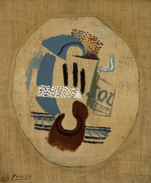 Still Life (Wineglass and Newspaper), 1914, Pablo Picasso, 22x28 modern-artwork