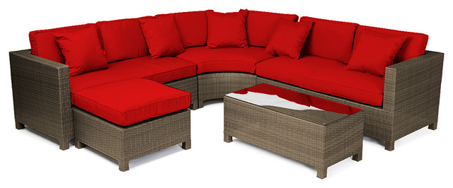 Reef Rattan 5 Piece Sectional Sofa Set - Chocolate Rattan / Red Cushions tropical-patio-furniture-and-outdoor-furniture