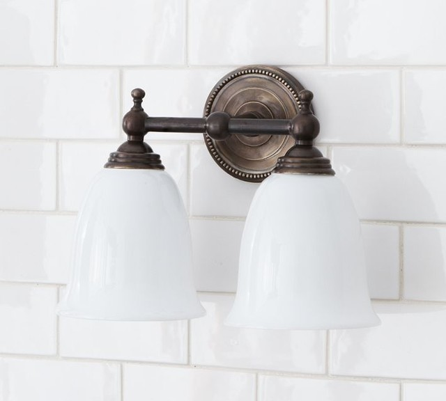 Quinn beaded double sconce traditional bathroom vanity for Traditional bathroom wall lights