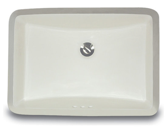 """UM-18x12-B - 18"""" x 12"""" Undermount Rectangle Ceramic Vanity Sink with Overflow. Available in White or Bisque."""