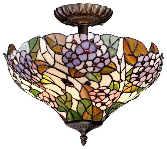 "Cottage Hydrangea 15"" Wide Tiffany Style Bronze"
