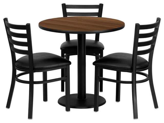 Flash furniture 30 inch round walnut laminate table set for Traditional round dining table sets