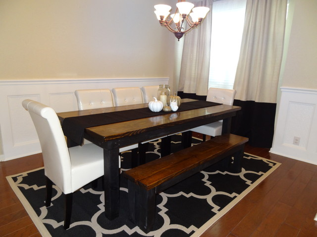 James+James 8′ Farmhouse table in Dark Walnut stain and Black paint