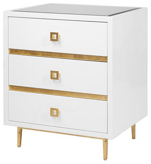 Worlds Away Hyde 3 Drawer Nightstand , White/Gold - Contemporary - Nightstands And Bedside ...
