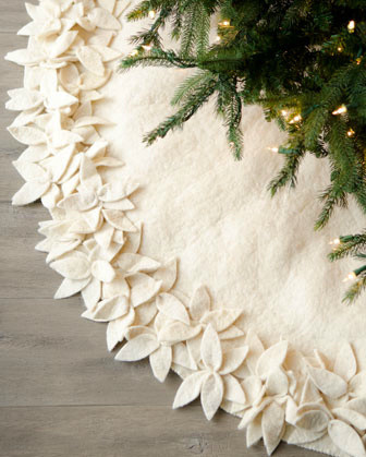 Artisan Overlapping Floral Tree Skirt contemporary holiday decorations