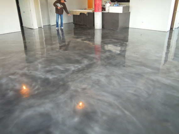 Gray Concrete Stain Stained concrete floors modern