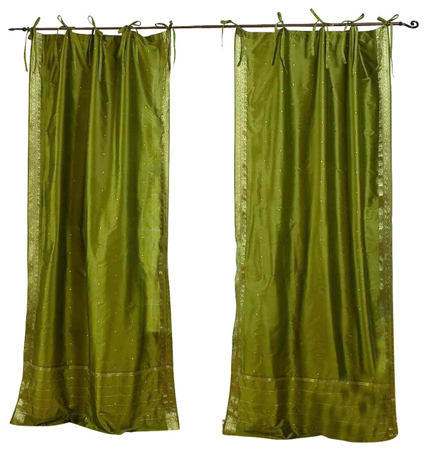 Pair of Olive Green Tie Top Sheer Sari Curtains, 80 X 108 In. eclectic-curtains