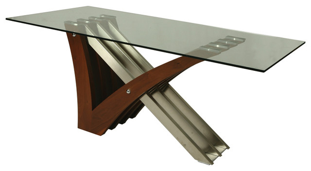 Pastel Akasha Rectangular Glass Top Dining Table in  : traditional dining tables from www.houzz.com size 640 x 352 jpeg 31kB