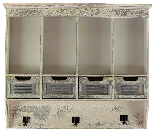 Antique Style Rustic White Wood Storage Drawers Shelf Set Decor - Farmhouse - Display And Wall ...
