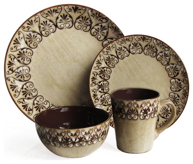 Mediterranean Style Dinnerware: 16 Piece Dinnerware Set