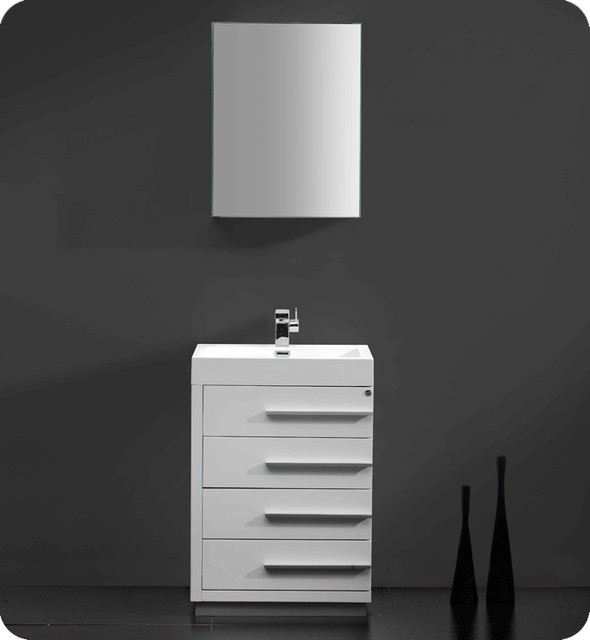 23 5 Livello Small Single Vanity White FVN8024WH Modern Bathroo