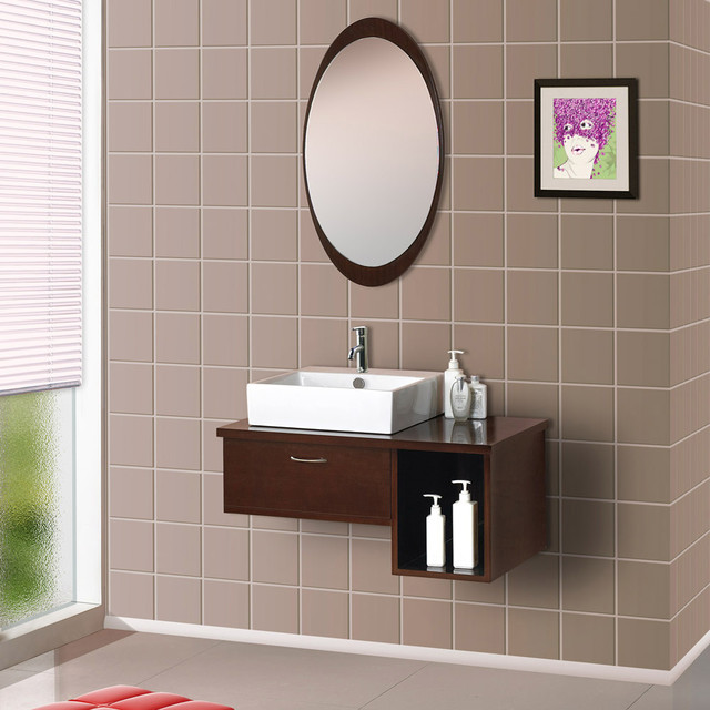 Wall-Mounted Modern Bathroom Vanity with Porcelain Sink and Mirror modern-bathroom-vanities-and-sink-consoles