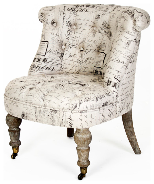 Amelie French Country Gray Literary Script Tufted Accent ...