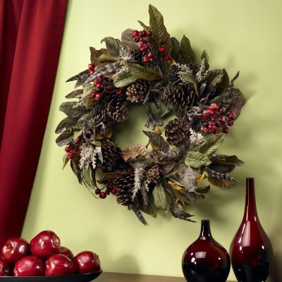 24 in. Pinecone with Berry & Feather Wreath modern-outdoor-holiday-decorations