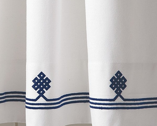 Navy Gobi Shower Curtain - This white shower curtain will lend a spa-like air to your bathroom. I just love the embroidered motif, especially in this navy colorway.