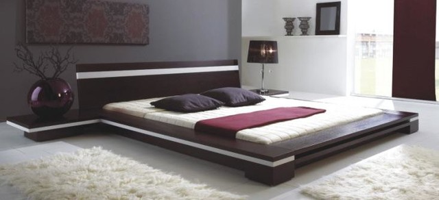 Sonata platform bed in wenge contemporary bedroom for Modern bed designs