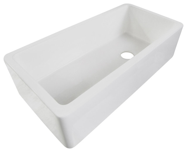 """White 36"""" Single Bowl Thick Fireclay Farmhouse Kitchen Sink with Smooth"""