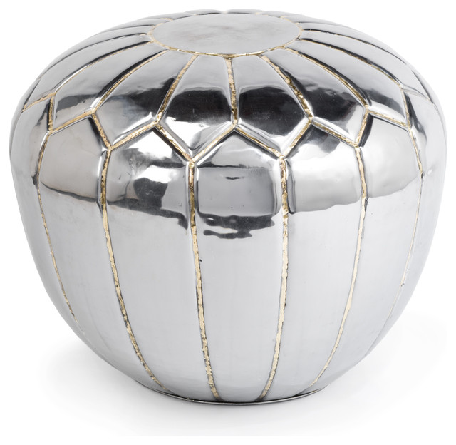 Magnani Hollywood Regency Polished Steel Pouf Ottoman transitional-footstools-and-ottomans