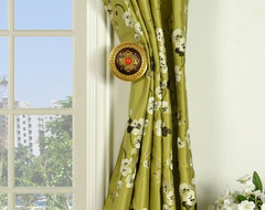 Green Embroidered Four-leaf Clovers Triple Pinch Pleat Dupioni Silk Curtains traditional-curtains