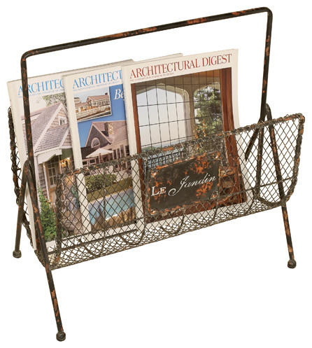 Distressed Wire Magazine Rack - Traditional - Magazine Racks - by Welcome Home Accents