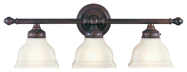 "Country - Cottage Feiss New London 25"" Wide Bronze Bathroom Fixture traditional-bathroom-vanity-lighting"