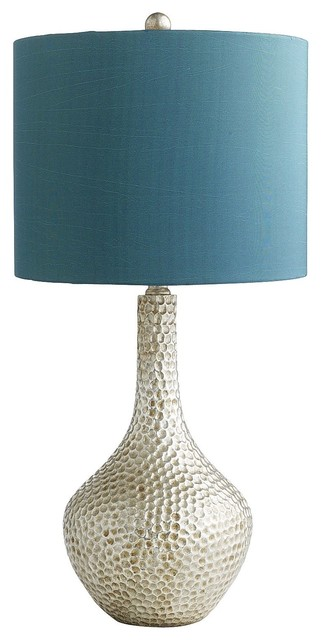Teal Honeycomb Lamp eclectic-table-lamps