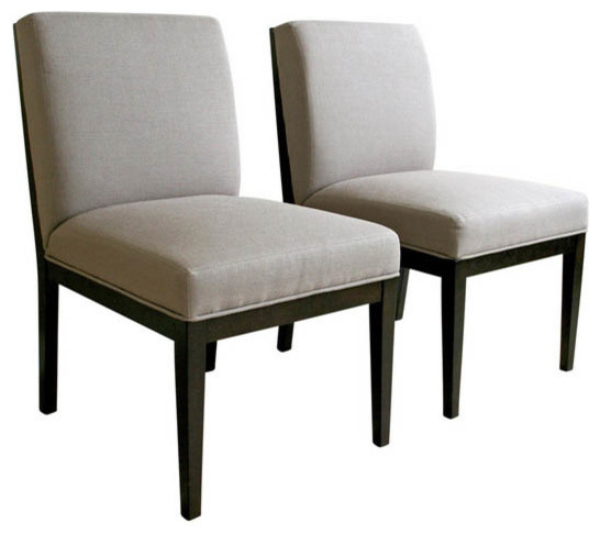 Catalina Taupe Twill Fabric Dining Chair With Dark Wood Legs Set Of 2 Mod