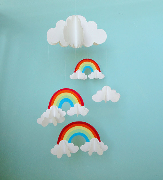 rainbows and clouds 3 d hanging baby mobile by gosh. Black Bedroom Furniture Sets. Home Design Ideas
