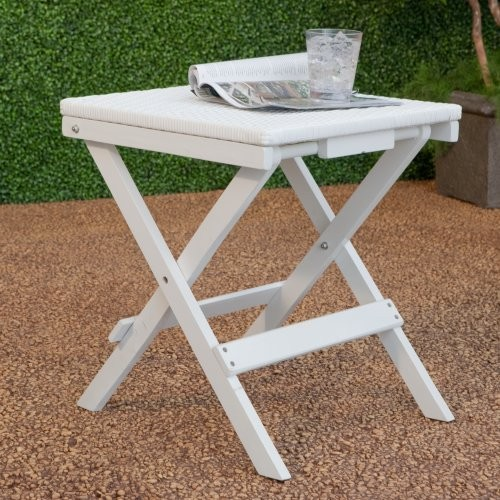 A sweet little spot for setting down your drink, the Willow Bay Folding Wick traditional-outdoor-tables