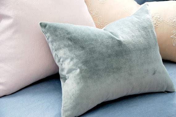 Dusty Blue Velvet Decorative Pillow by Homemaker Movement modern pillows