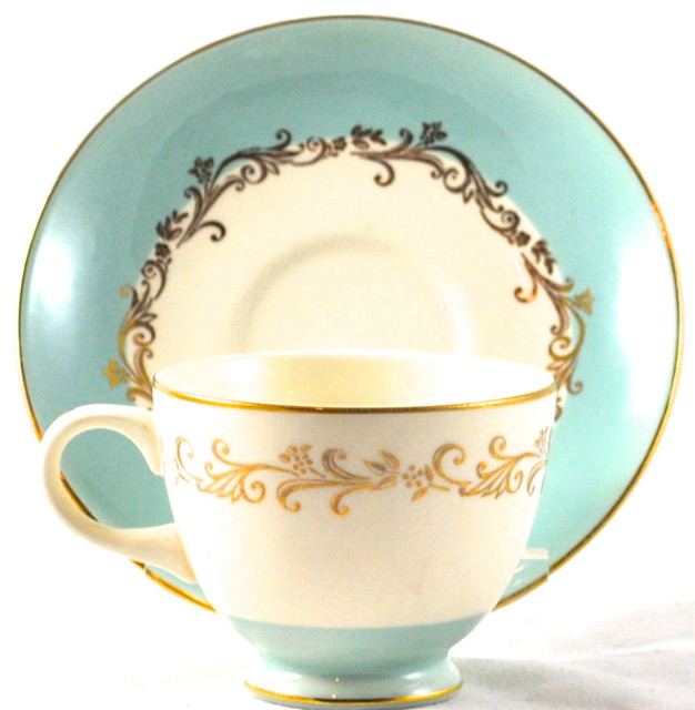 "Adonis Collection | Vintage ""Gold Crown"" cup & saucer traditional-cups-and-glassware"
