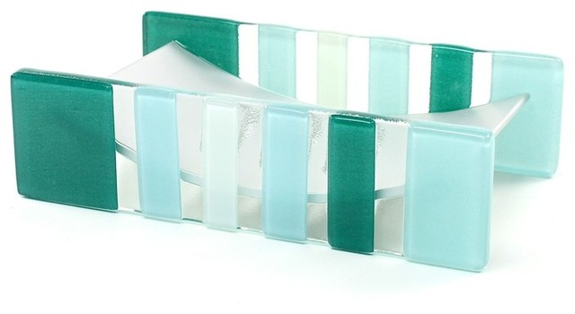 Light Blue Or Green Glass Aluminum Soap Holder Contemporary Bath And Spa