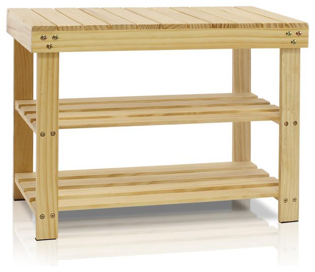 Furinno FNCJ-33019 Pine Wood Shoe Rack, Natural - Contemporary - Shoe Storage - by Furinno