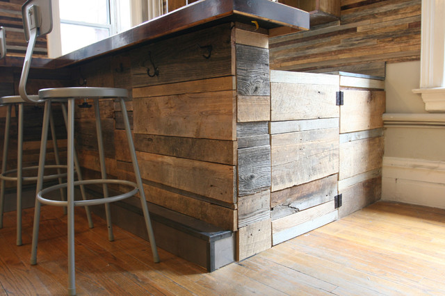 Reclaimed wood bar rustic new york by jen chu design for Wooden bar design