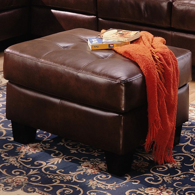 Samuel Contemporary Leather Ottoman by Coaster Sku: 500912 contemporary-footstools-and-ottomans