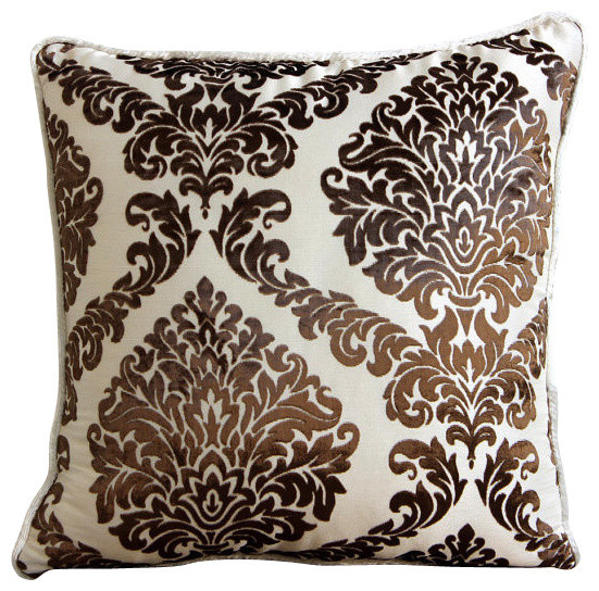 Throw Pillow Covers 18x18 Supplies : Damask Brown and Ivory Velvet Burnout Damask Throw Pillow Cover, 18x18 - Contemporary ...