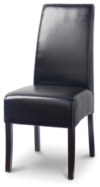 Hudson Leather Dining Chair with White Stitch, Black traditional-dining-chairs