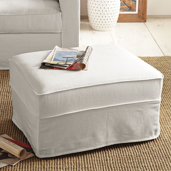 Henry Ottoman Slipcover Modern Footstools And Ottomans