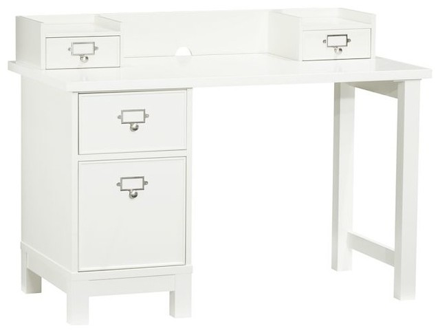 Schoolhouse Basic Desk, Simply White contemporary-desks-and-hutches